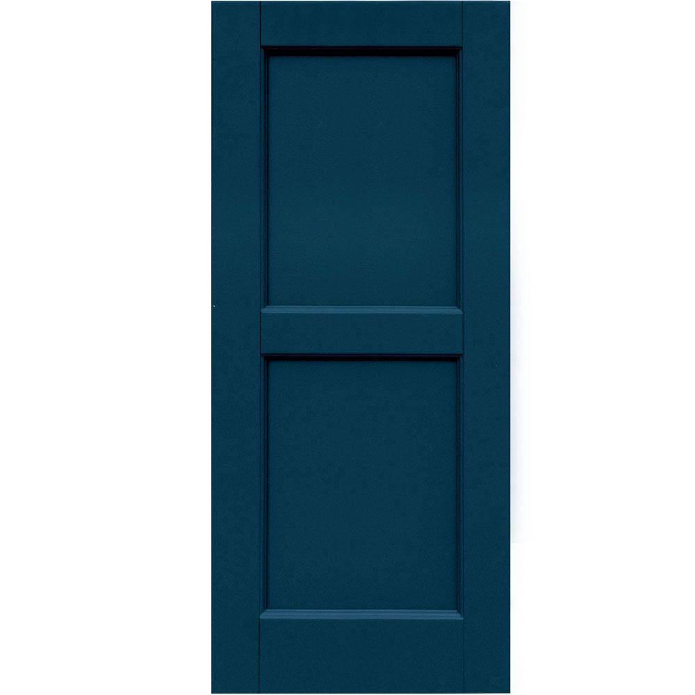 Winworks Wood Composite 15 in. x 35 in. Contemporary Flat Panel Shutters Pair #637 Deep Sea Blue