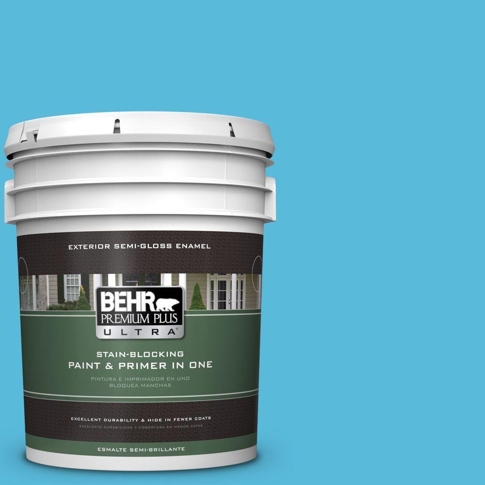 BEHR Premium Plus Ultra 5-gal. #530B-5 Azurean Semi-Gloss Enamel Exterior Paint