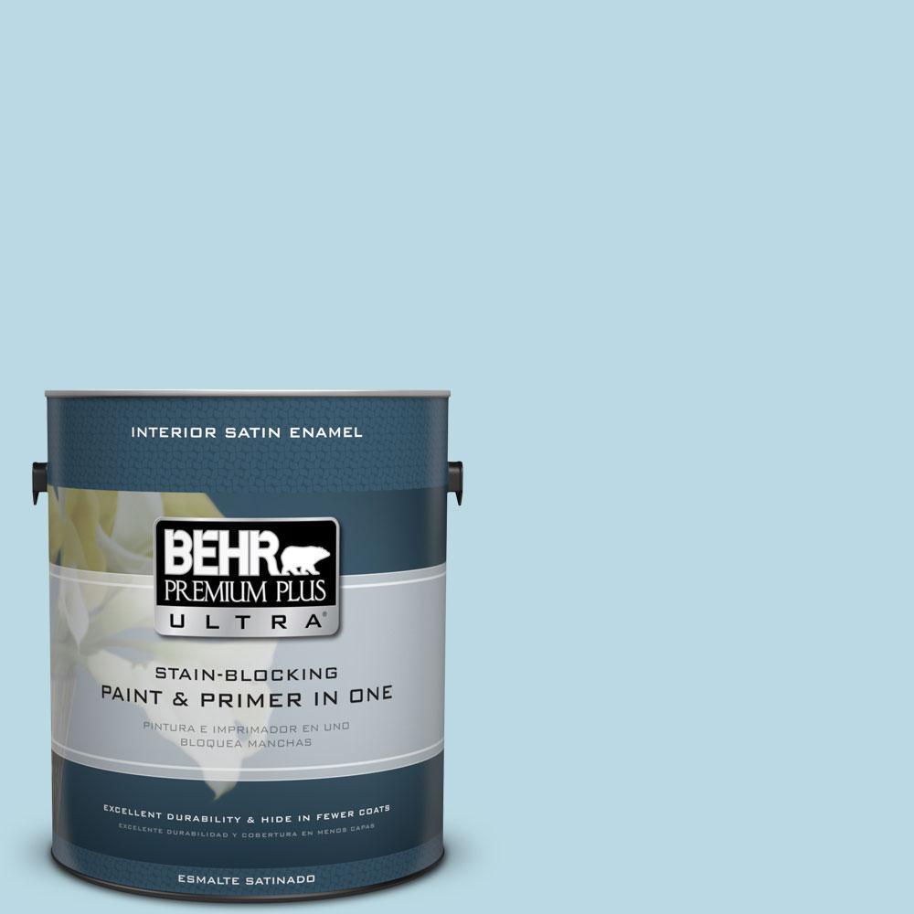 BEHR Premium Plus Ultra 1-gal. #S460-1 Air Blue Satin Enamel Interior Paint