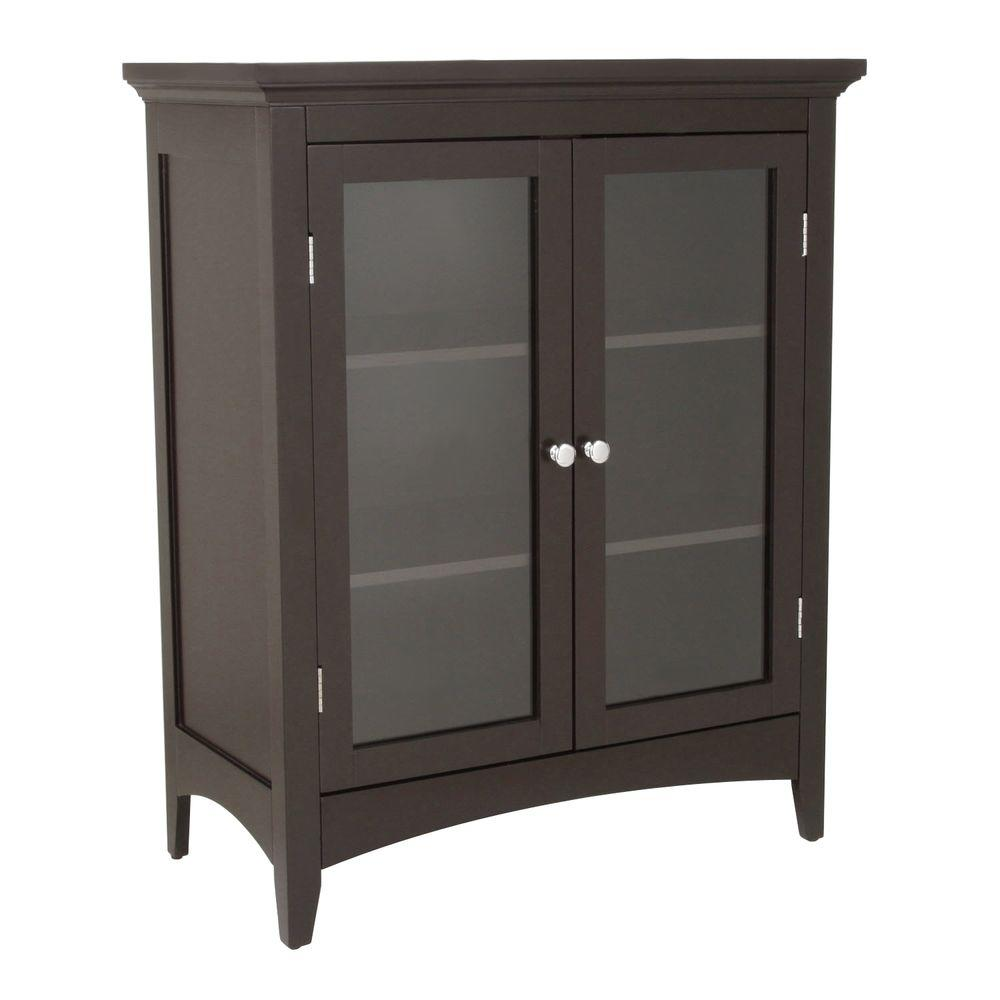 Tremendous Elegant Home Fashions Wilshire 26 In W X 32 In H X 13 In D 2 Door Bathroom Linen Storage Floor Cabinet In Dark Espresso Interior Design Ideas Gentotryabchikinfo
