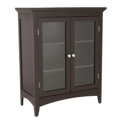 Wilshire 26 in. W x 32 in. H x 13 in. D 2-Door Bathroom Linen Storage Floor Cabinet in Dark Espresso