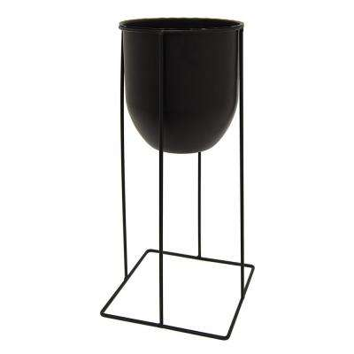 7.5 in. x 7.5 in. Metal Planter With Stand in Black