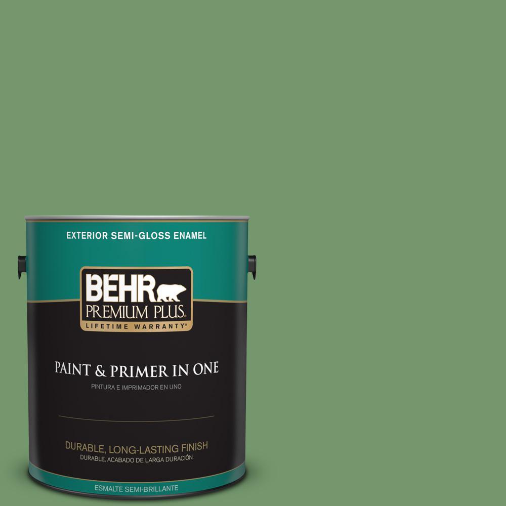 1 gal. #PPU11-03 Botanical Green Semi-Gloss Enamel Exterior Paint