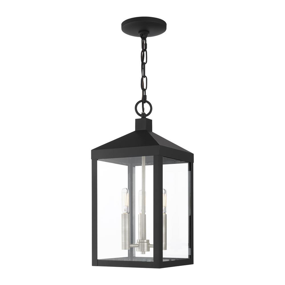 Nyack 3 Light Black with Brushed Nickel Cluster Outdoor Pendant Lantern