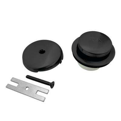 Overflow Faceplate with Toe Tap Drain and Screws, Matte Black