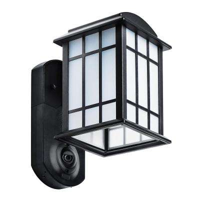 Craftsman Smart Security Textured Black Metal and Glass Outdoor Wall Lantern