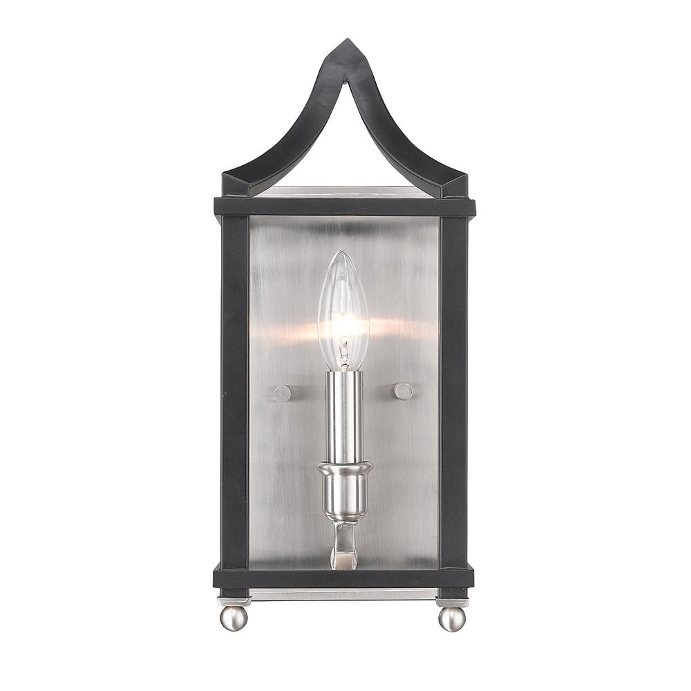 Leighton 1-Light Pewter and Black Wall Sconce Light