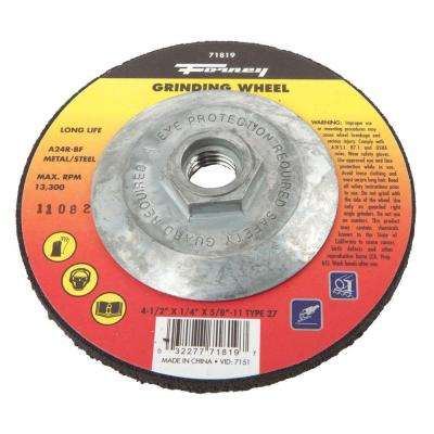 4-1/2 in. x 1/4 in. x 5/8 in.-11 Threaded Metal Type 27 Grinding Wheel