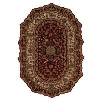 Masterpiece Red 4 ft. 6 in. x 6 ft. 6 in. Oval Area Rug