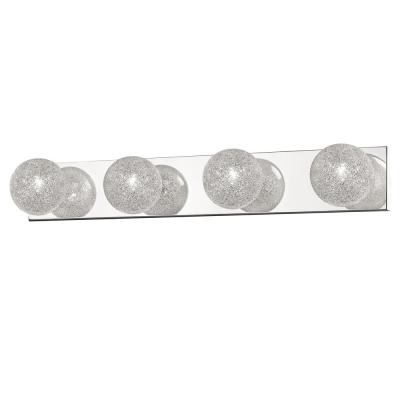 Emma 4-Light Mirrored Stainless Steel Vanity Light with Accent Glass Shades