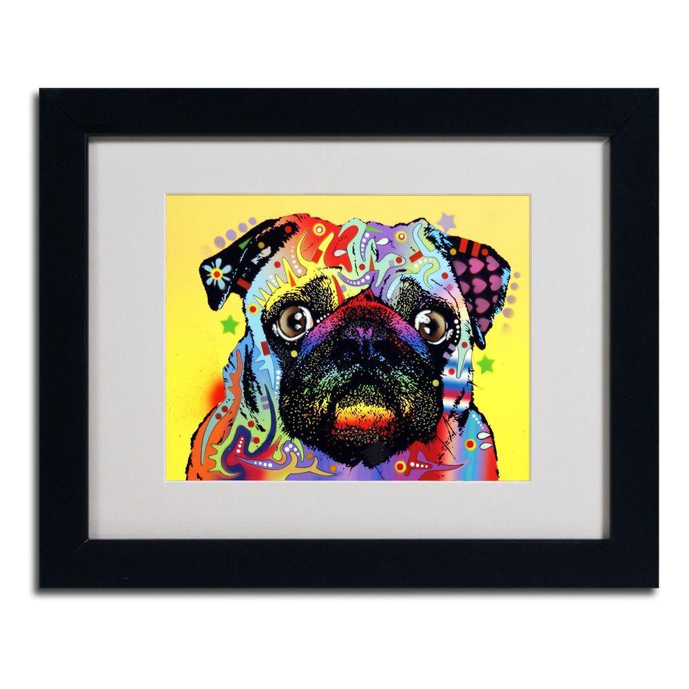 Trademark Fine Art 11 in. x 14 in. Pug Matted Black Framed Wall Art