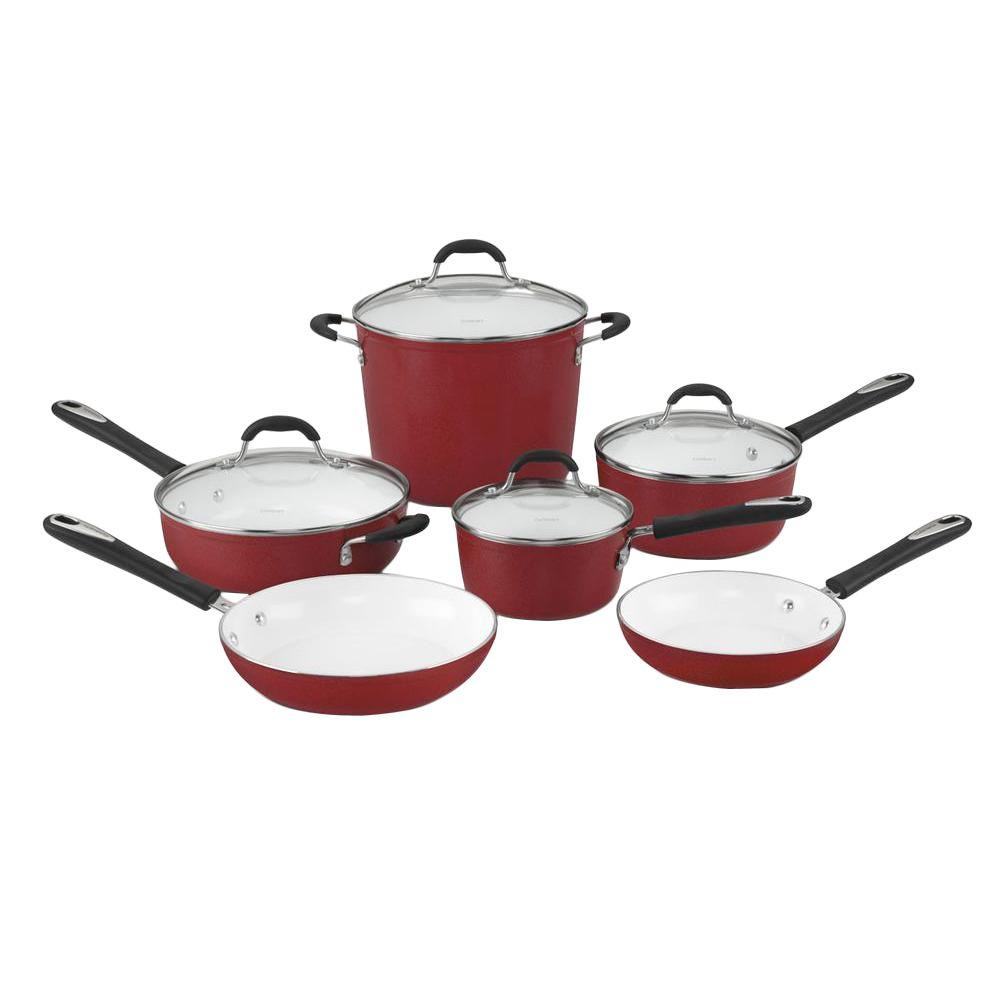 Cuisinart 10-Piece Red Cookware Set with Lids