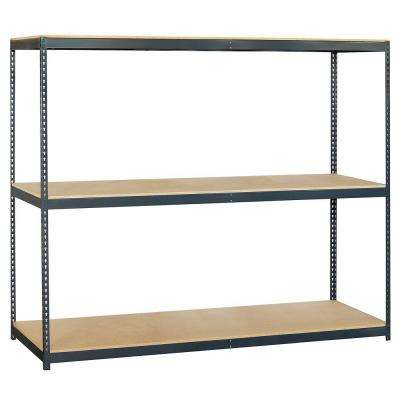 96 in. W x 84 in. H x 24 in. D 3-Shelf Heavy Duty Steel and Particleboard Solid Shelving