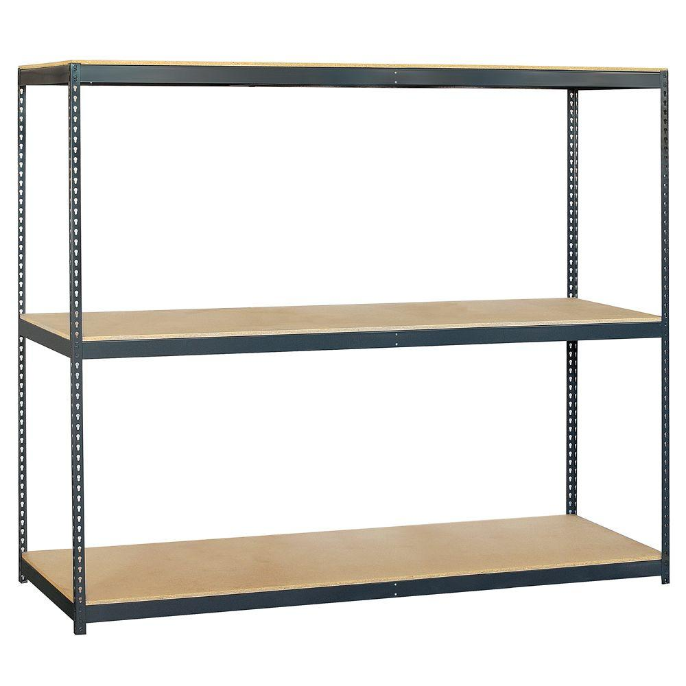 Salsbury Industries 9700 Series 96 in. W x 84 in. H x 24 in. D 3-Shelf Heavy Duty Steel and Particleboard Solid Shelving