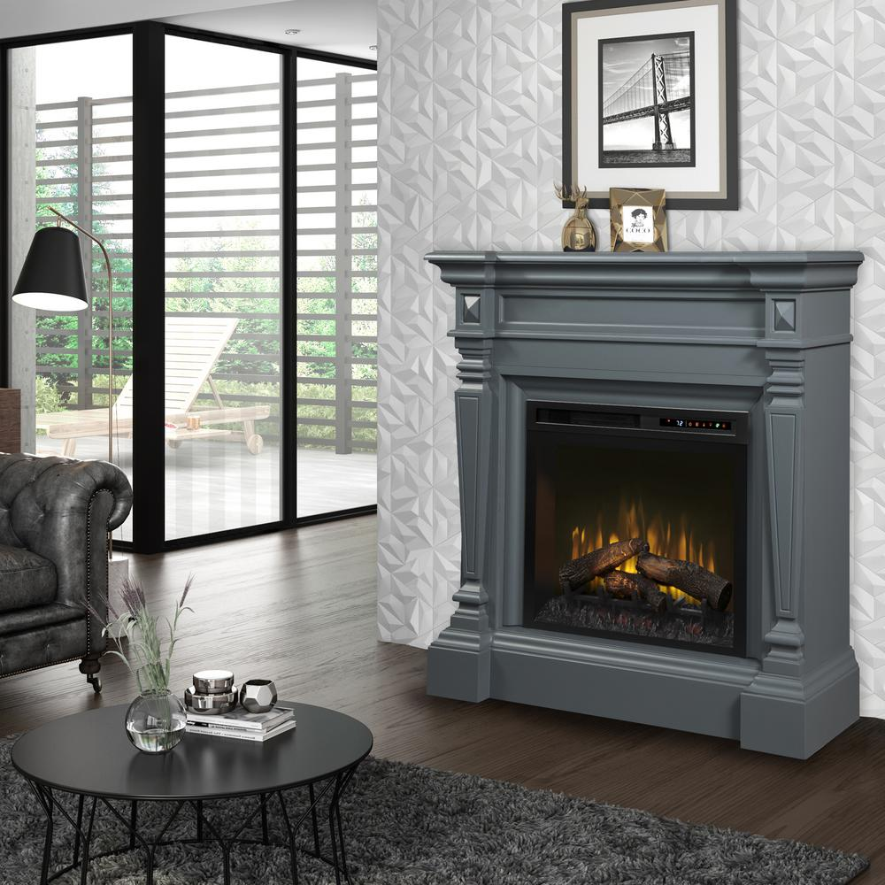 Dimplex Heather 50 in. Electric Fireplace with Logs in Wedgewood Grey with 28 in. Mantel