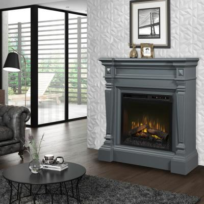 Heather 50 in. Electric Fireplace with Logs in Wedgewood Grey with 28 in. Mantel