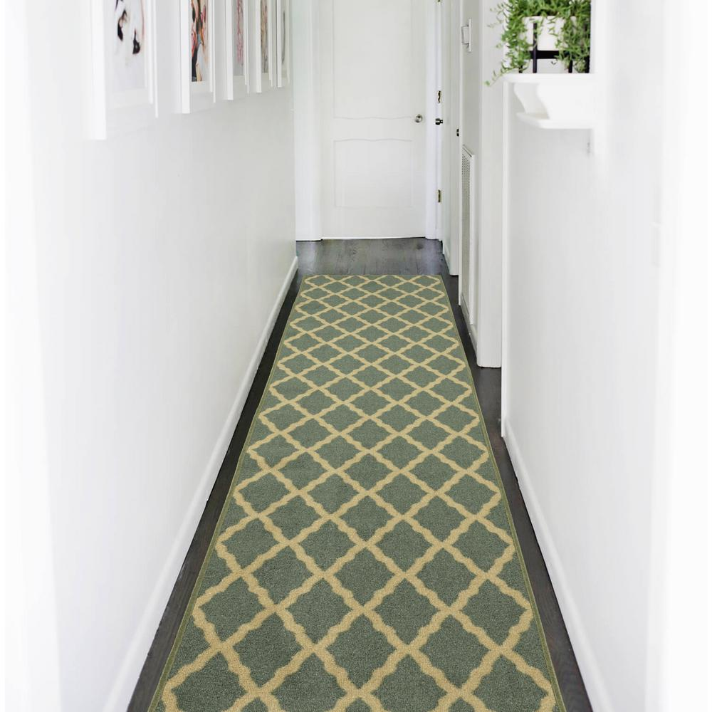 Ottohome Collection Contemporary Moroccan Trellis Design Sage Green 2 ft. x