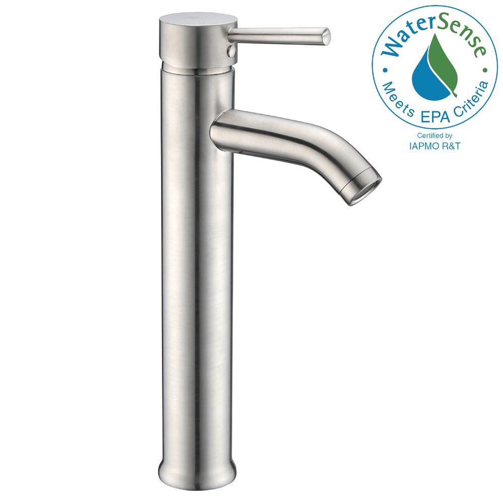 Fann Single Hole Handle Vessel Bathroom Faucet In Brushed Nickel