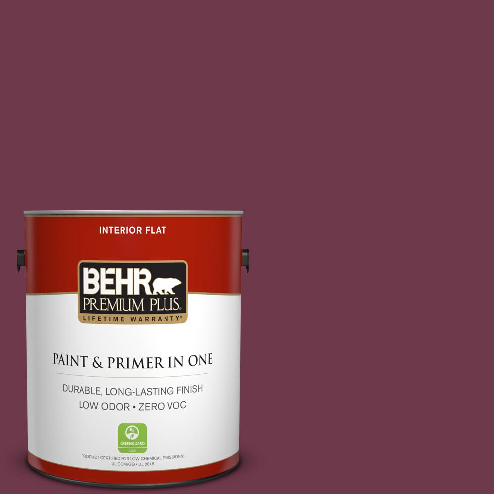 1 gal. #PPU1-14 Formal Maroon Zero VOC Flat Interior Paint