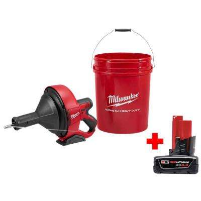 M12 12-Volt Lithium-Ion Cordless Auger Snake Drain Cleaning Kit with Free 4.0Ah M12 Battery