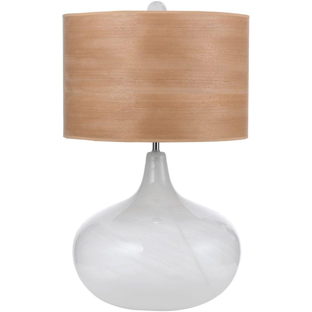 AF Lighting Horizon Playa 27 In. Blown Glass Table Lamp With Wood Veneer  Shade Amazing Ideas