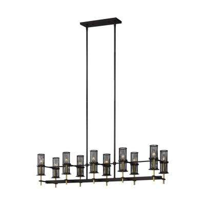 Palmyra 10-Light Oil Rubbed Bronze and Burnished Brass Linear Chandelier with Metal Mesh Shades