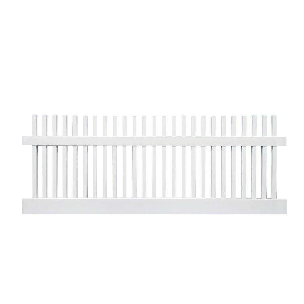 Weatherables Monterey 4 Ft X 8 Ft W White Vinyl Picket