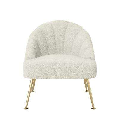 Appleby in Cream Faux-Shearling Fabric Modern Channel Tufted Shell Chair