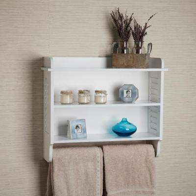 Contempo 23.5 in. W x 20 in. H White MDF Bath Cabinet with Adjustable Shelf and Towel Bar