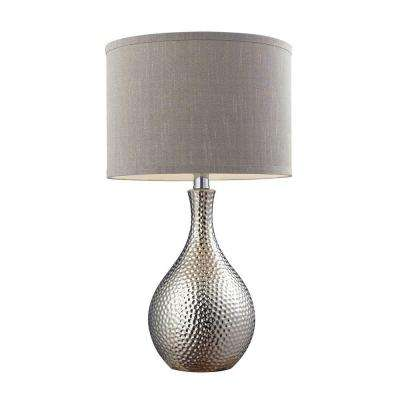 22 in. Hammered Chrome Plated Table Lamp with Grey Faux Silk Shade