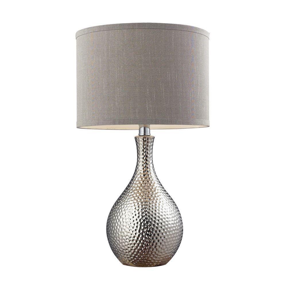 Titan lighting 22 in hammered chrome plated table lamp with grey titan lighting 22 in hammered chrome plated table lamp with grey faux silk shade aloadofball Gallery