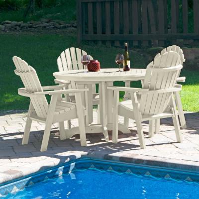 Hamilton Whitewash 5-Piece Recycled Plastic Round Outdoor Dining Set