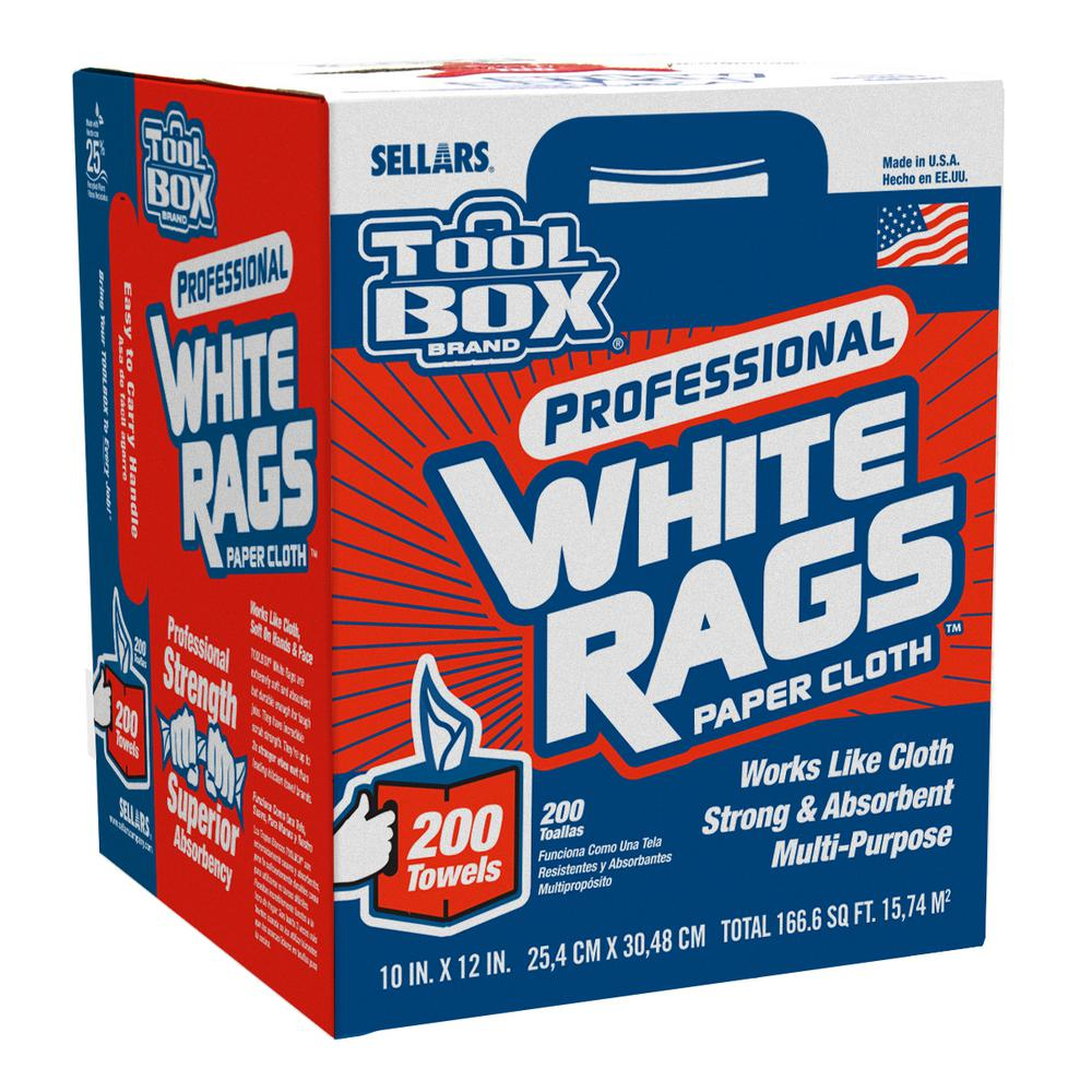 toolbox white rags 200 count box - Box Of Rags