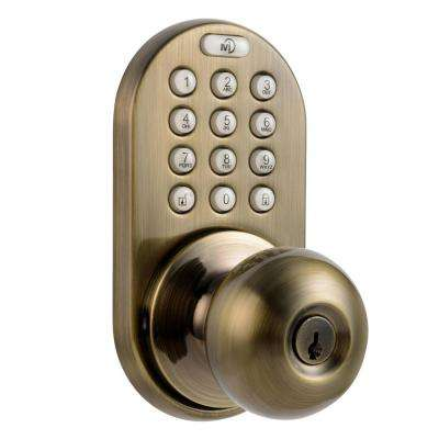 Antique Brass Single-Cylinder Electronic Door Knob with Keyless Back-Lit Keypad Entry