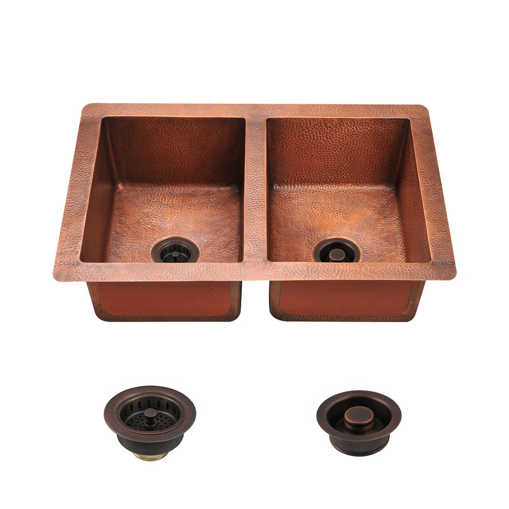 Mr Direct All In One Undermount Copper 33 In Double Bowl Kitchen Sink 902 Stfl The Home Depot