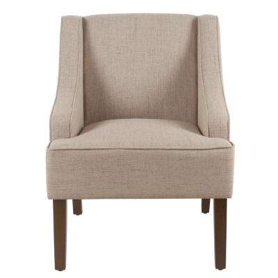 Linen-look Sand Classic Swoop Arm Accent Chair