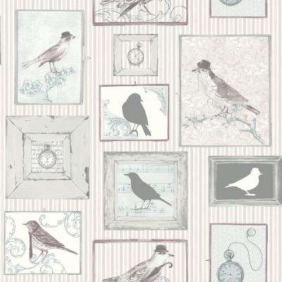 Framed Birds Lilac Vinyl Strippable Roll (Covers 56 sq. ft.)
