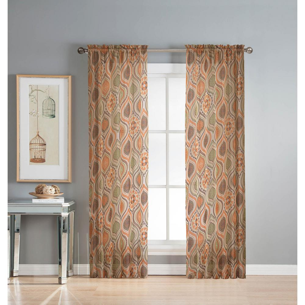 Window Elements Sheer Olina Printed Sheer 54 In W X 84 In L Grommet Extra Wide Curtain Panel