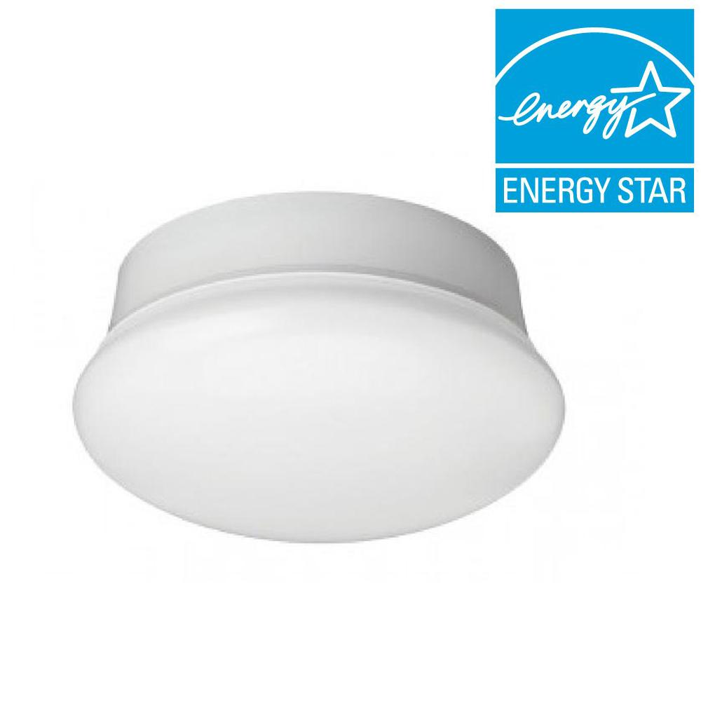 Led Flush Mount Ceiling Light Lampholder Replacement Fixture: Commercial Electric 7 In. Daylight White LED Flushmount