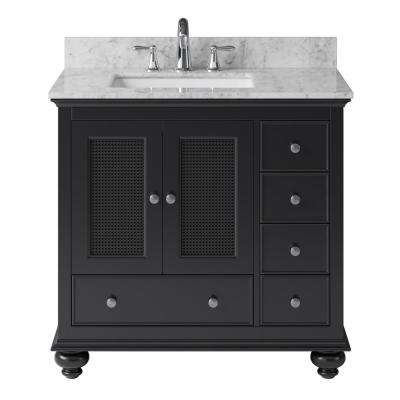 Aerin 35.28 in. W x 21.65 in. D x 33.86 in. H Bath Vanity in Espresso with Marble Vanity Top in White with White Basin