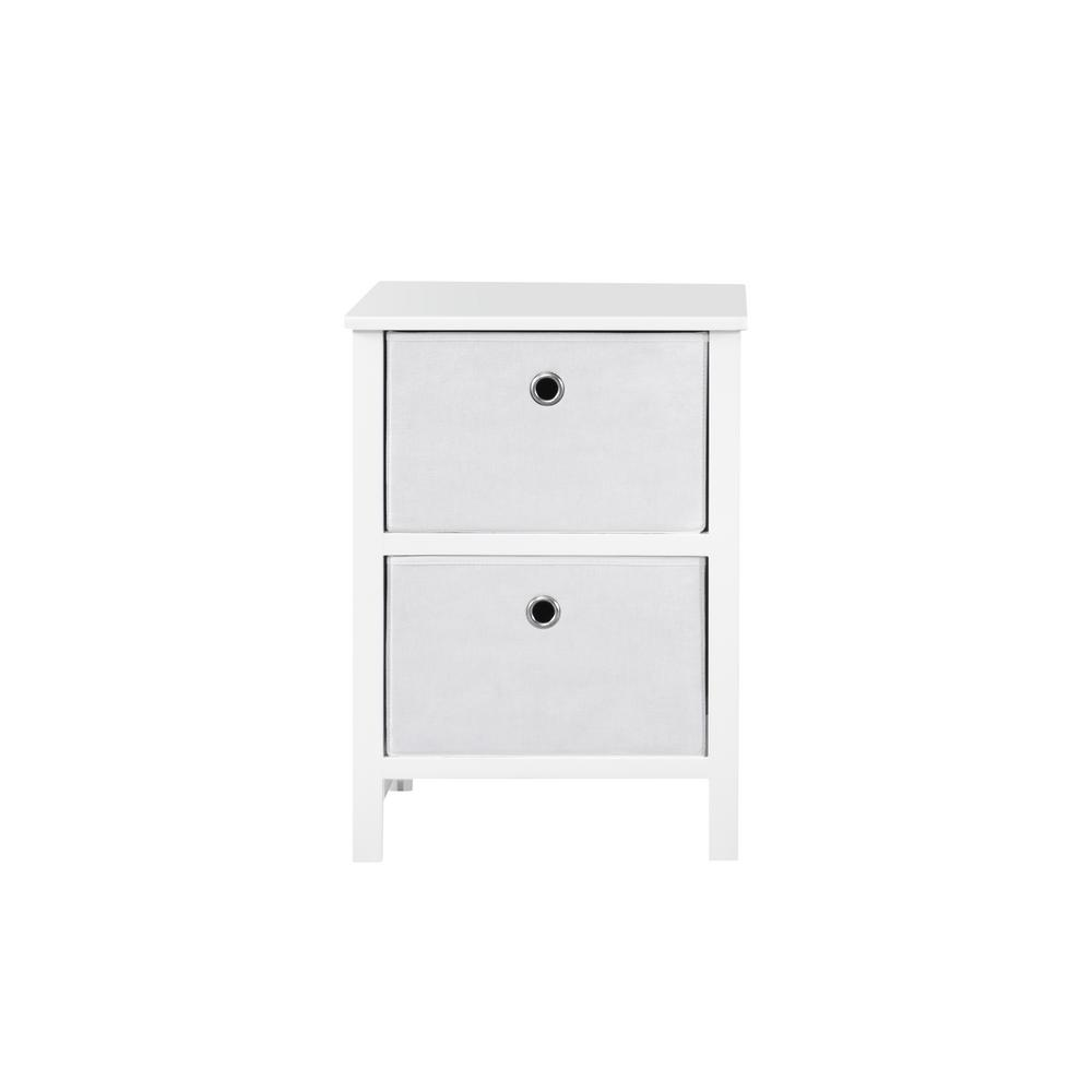 EZ Home Solutions 2-Drawer White Foldable Night Stand