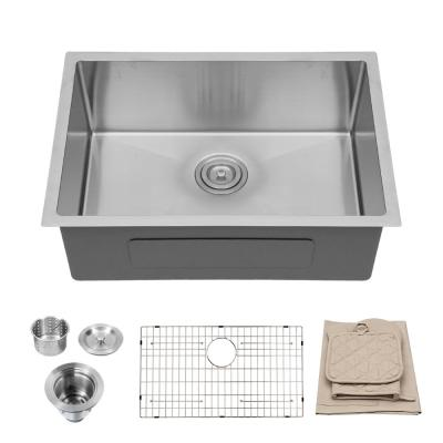 Silver 16-Gauge Stainless Steel 27 in. Single Bowl Undermount Kitchen Sink