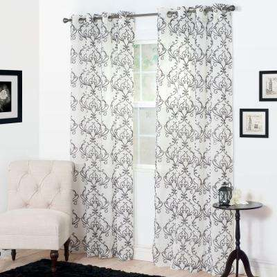 Semi-Opaque Valencia Charcoal Polyester Curtain Panel 54 in. W x 84 in. L