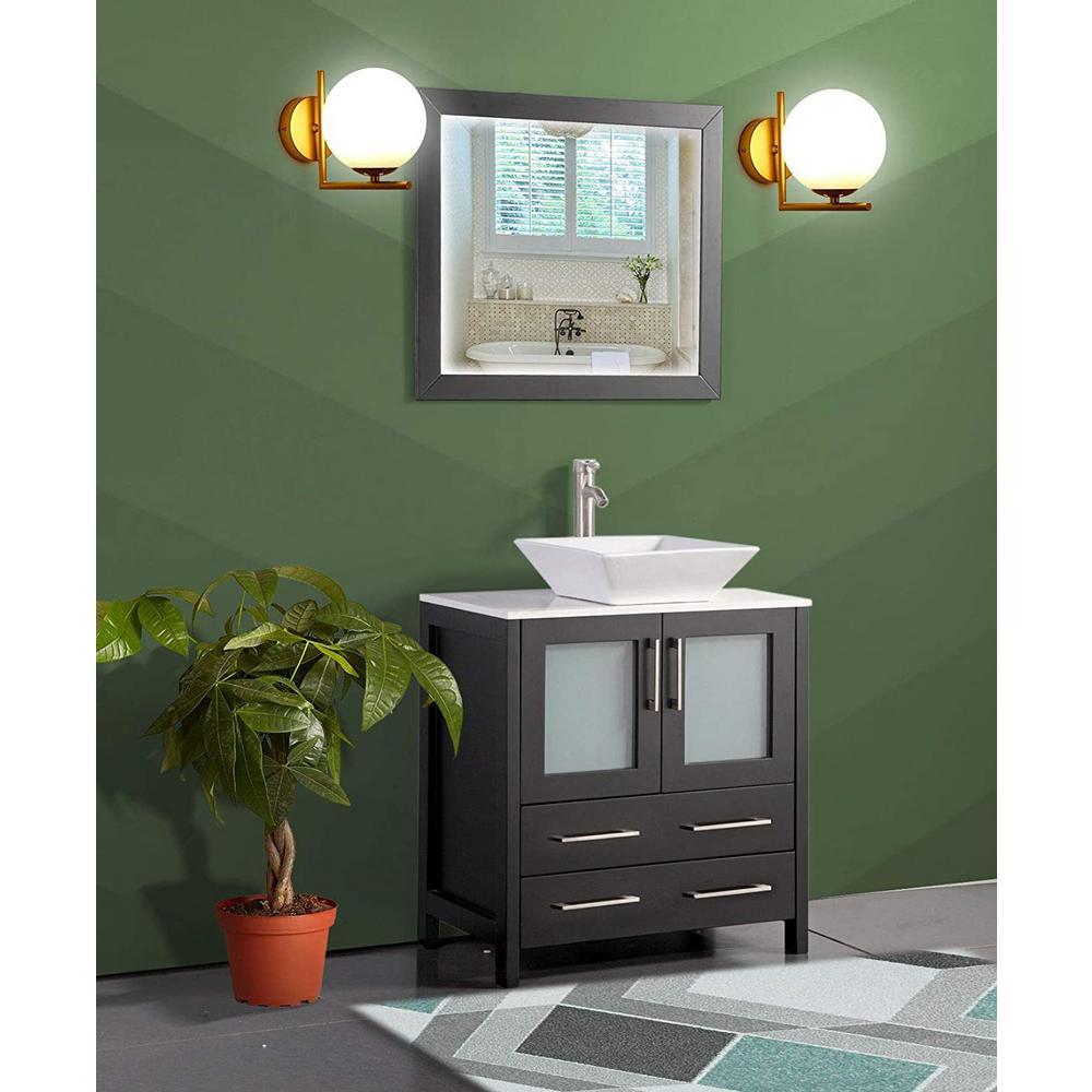 Ravenna 30 in. W x 18.5 in. D x 36 in. H Bathroom Vanity in Espresso with Single Basin Top in White Ceramic and Mirror
