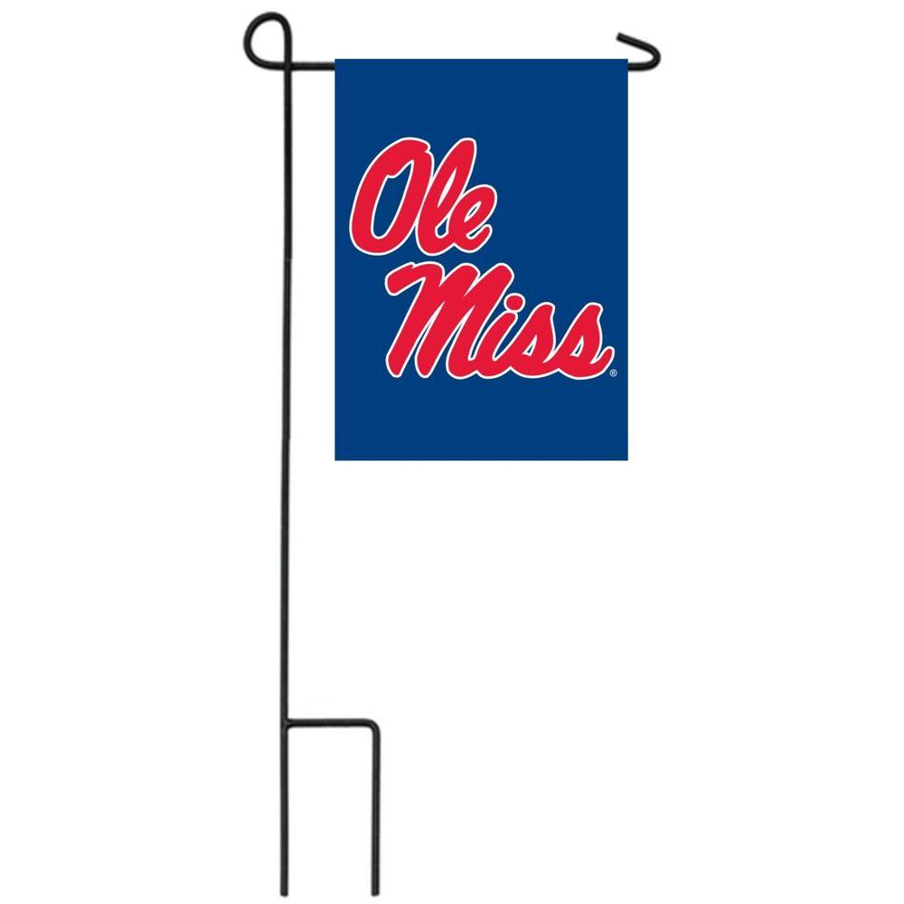 Team Sports America NCAA 12-1/2 in. x 18 in. Ole Miss 2-Sided Garden Flag with 3 ft. Metal Flag Stand