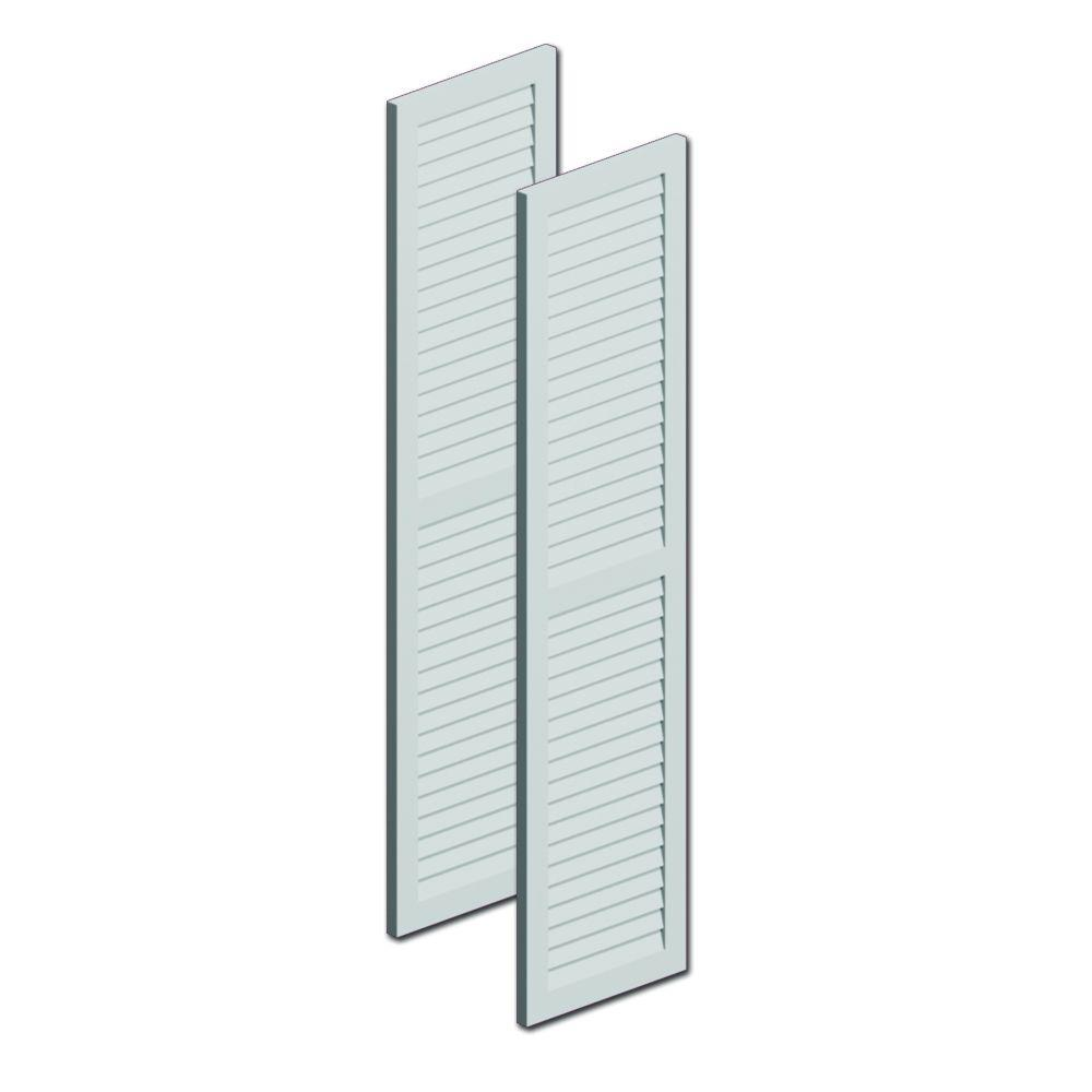 Fypon 72 in. x 16 in. x 1 in. Polyurethane Louvered Shutters with Center Rail Pair