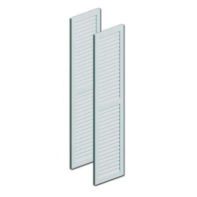 18 in. x 72 in. x 1 in. Polyurethane Louvered Shutters with Center Rail Pair