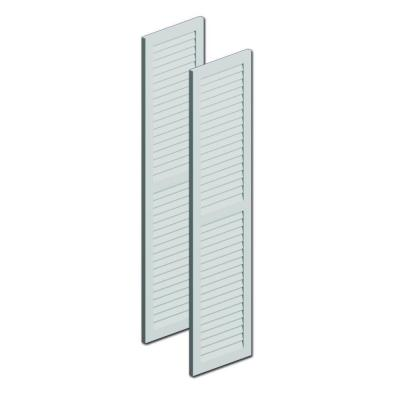 48 in. x 12 in. x 1 in. Polyurethane Louvered Shutters with Center Rail Pair