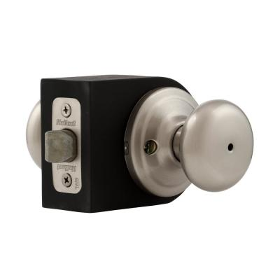 Juno Satin Nickel Privacy Bed/Bath Door Knob with Microban Antimicrobial Technology