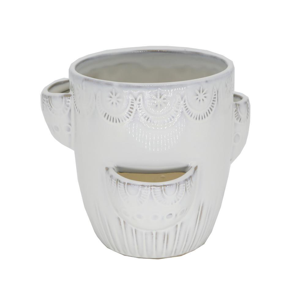 Flora Bunda 6.25 in. Milk White Horseshoe Strawberry Ceramic Plant Pot
